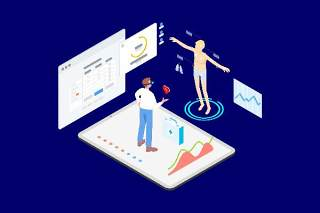 医疗医学医院医生人体人物AR和VR虚拟现实场景2.5D插画AI矢量设计素材2
