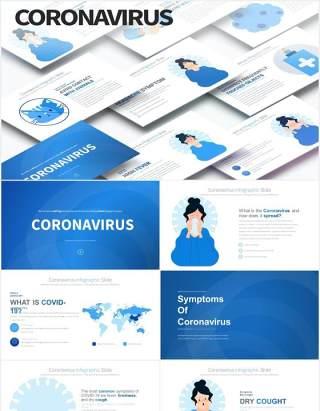 11套色系冠状病毒预防卫生医疗医用PPT素材Coronavirus - PowerPoint Infographics