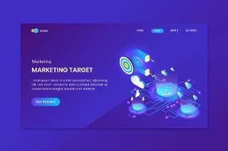 蓝色商务业务目标营销等距着陆UI界面网站插画矢量素材Business Target Goal Marketing Isometric Landing Page