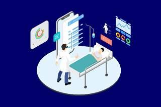 医疗医学医院医生人体人物AR和VR虚拟现实场景2.5D插画AI矢量设计素材4