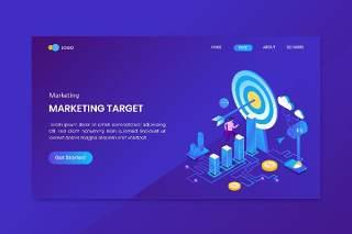 业务目标市场营销等距概念UI平面网站设计插画界面矢量素材Business Target Marketing Isometric Concept Landing Page