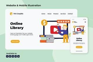 在线图书馆网络与移动界面矢量插画素材设计Online Library web and mobile