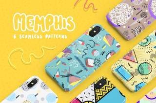孟菲斯无缝图案系列AI背景矢量素材Memphis Seamless Patterns Collection