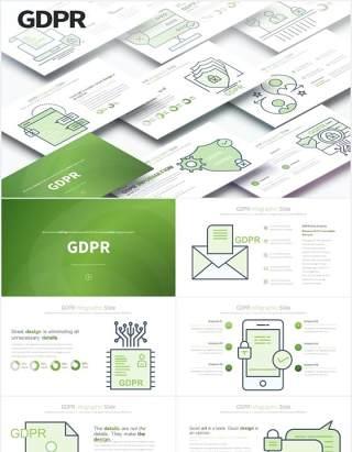 11套色系通用数据保护条例插画图形PPT素材GDPR - PowerPoint Infographics Slides