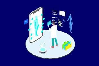 医疗医学医院医生人体人物AR和VR虚拟现实场景2.5D插画AI矢量设计素材8