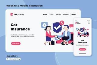 汽车保险涂鸦网络和手机界面人物插画矢量素材Car Insurance doodle web and mobile