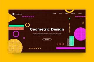 孟菲斯几何图形网站页面抽象流体背景AI网页UI界面平面设计素材Abstract Background