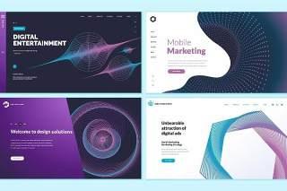 数字娱乐移动市场营销抽象概念网页设计UI界面矢量背景插画网站模板集Set of Web Page Design Templates