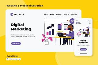 数字营销网络与移动界面设计AI插画素材PSD模板Digital Marketing web and mobile designs