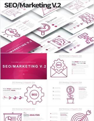 11套色系搜索引擎优化市场营销PPT素材SEO Marketing V.2 - PowerPoint Infographics
