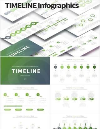 11套色系公司发展阶梯时间轴PPT素材TIMELINE - PowerPoint Infographics Slides