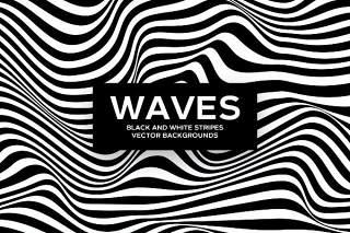 黑白斑马条纹波矢量背景AI矢量设计素材Black and White Striped Waves Vector Backgrounds