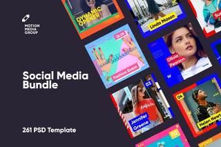 261个时尚渐变社交媒体PSD海报背景素材包(不含照片)Social Media Bundle