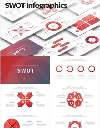 11套色系SWOT矩阵分析可视化图表PPT素材SWOT - PowerPoint Infographics