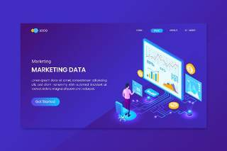 营销分析等距概念登录页插画网站设计矢量素材Marketing Analysis Isometric Concept Landing Page