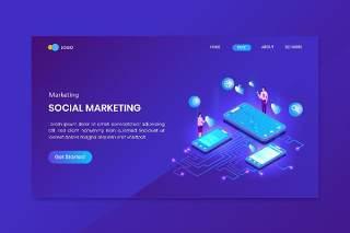 蓝色社会营销等距概念登录页插画矢量素材设计Social Marketing  Isometric Concept Landing Page