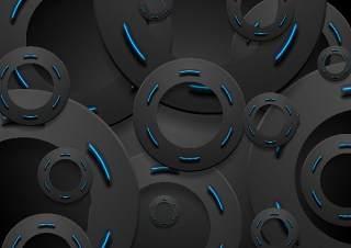 黑色和发光的霓虹蓝色圆圈背景EPS矢量设计素材black and glowing neon blue circles background