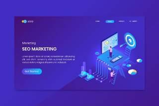 蓝色目标市场等距概念登录页插画素材网站界面设计Target Marketing Isometric Concept Landing Page