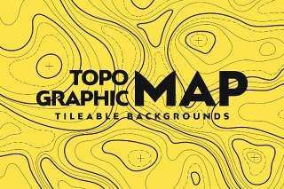 地形图无缝图案AI矢量设计背景素材Topographic Map Seamless Patterns