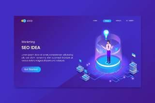 蓝色Seo创意营销等距概念登录页插画矢量素材网站界面设计Seo Idea Marketing Isometric Concept Landing Page