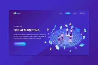 社交媒体营销等距概念登录页插画矢量素材Social Media Marketing Isometric Concept Landing Page