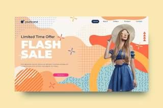 孟菲斯时尚限时促销特价登陆网站页面抽象图形背景AI网页UI界面平面设计素材Abstract Background