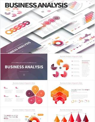 12套色系商业公司经营分析可视化图表PPT素材Business Analysis - PowerPoint Infographics