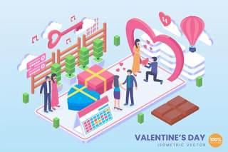 情人节2.5D等距插画AI矢量人物情侣求婚素材isometric valentines day vector concept