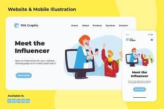 线上约谈会面电脑和手机APP界面插画素材PSD模板Meet the Influencer web and mobile