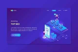 蓝色顶部SEO搜索引擎优化营销等距概念登录页插画矢量素材网站界面设计Top Seo Marketing Isometric Concept Landing Page