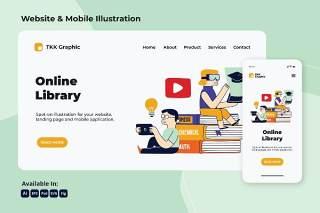 在线图书馆知识网络与移动界面矢量素材Online library Knowledge web and mobile