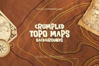 褶皱破旧地形图背景AI矢量设计素材Crumpled Topographic Map Backgrounds
