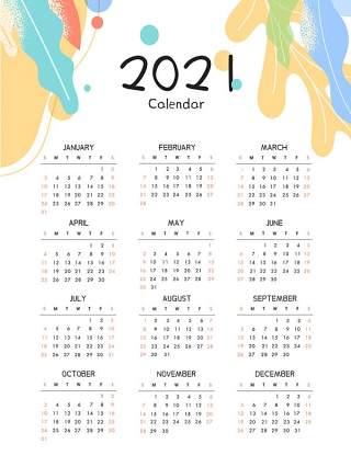 简洁2021年新春新年牛年日历挂历设计AI矢量模板