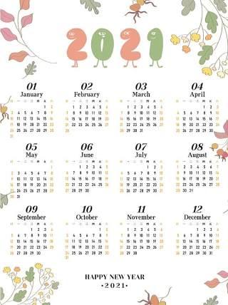 2021年牛年新春新年日历挂历设计AI矢量模板