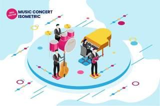 音乐会乐器乐队2.5D等距矢量插画AI人物素材isometric music concert vector illustration