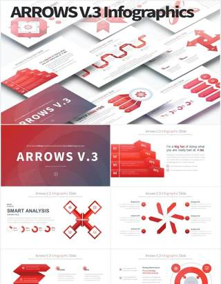 11套色系箭头流程图可视化信息图表PPT素材ARROWS V.3 - PowerPoint Infographics