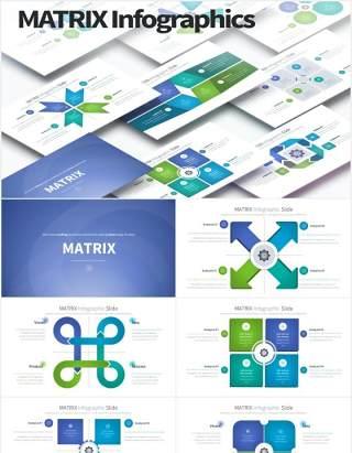 12套颜色矩阵统计数据可视化PPT信息图表素材MATRIX - PowerPoint Infographics Slides