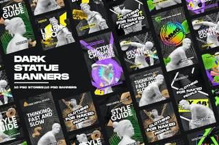 10款黑色古董雕像雕塑横幅数字营销PSD背景素材设计Dark Statue Banners