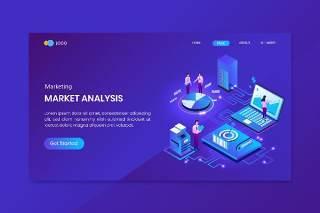 蓝色搜索引擎优化分析等距概念登录页插画设计矢量素材Seo Analysis Isometric Concept Landing Page