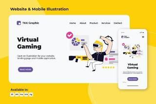 虚拟游戏网络和移动界面设计人物插画矢量PSD素材Virtual Gaming web and mobile designs