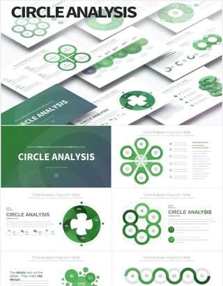 12套颜色圆形饼图数据可视化分析PPT信息图表素材Circle Analysis - PowerPoint Infographics Slides