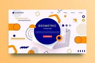 孟菲斯网站页面几何抽象图形背景AI网页UI界面平面设计素材Geometric Abstract Background