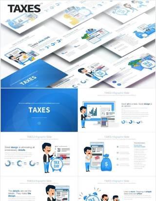11套色系企业财务税收报税创意人物插画PPT素材TAXES - PowerPoint Infographics