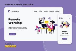 远程工作和外包网络和移动界面插画设计素材Remote working and Outsourcing web and mobile