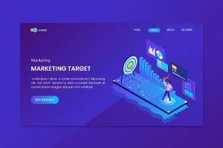 蓝色商业计划目标等距概念着陆UI界面网站设计插画矢量素材Business Plan Target Isometric Concept Landing Page