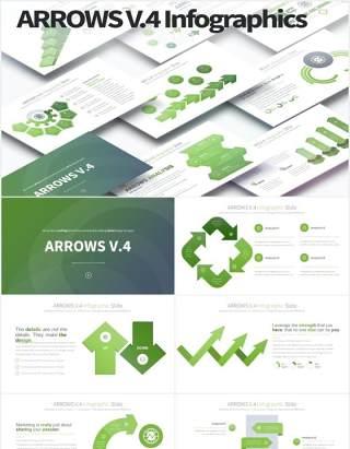 12套颜色箭头阶梯流程图信息图表PPT可视化素材Arrows V.4 - PowerPoint Infographics