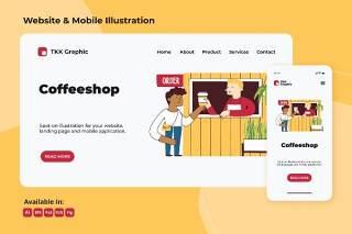 咖啡厅商务网站与手机界面设计矢量插画素材Coffee shop business web and mobile design