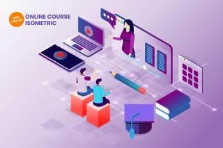 2.5D等距线上教育教学在线课程AI矢量插画素材isometric online course vector illustration