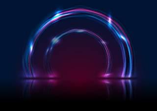 蓝色紫外线霓虹灯发光圆EPS矢量设计背景素材blue ultraviolet neon glowing circles