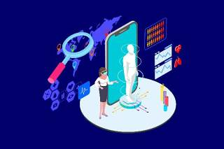医疗医学医院医生人体人物AR和VR虚拟现实场景2.5D插画AI矢量设计素材16